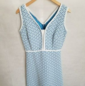 Women's 1960s Blue & White Diamond Patterned Dress